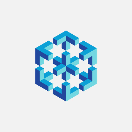 impossible: Colorful impossible cube, web design element. Vector illustration