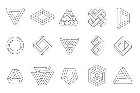 paradox: Set of impossible shapes. Web design elements. Line design, un-expanded strokes. Vector illustration EPS 10 Illustration