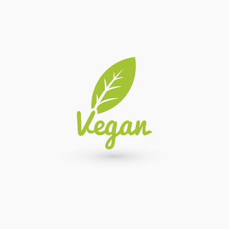 Vegan logo with leaf. Isolated on white. Vector illustration EPS 10 Vectores