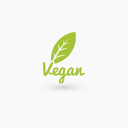 Vegan logo met blad. Geïsoleerd op wit. Vector illustratie EPS 10 Stock Illustratie