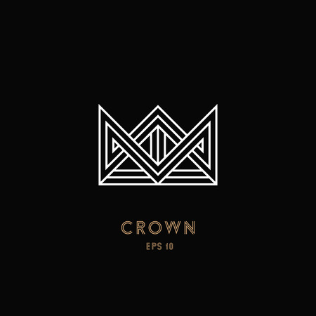 Crown logo, geometric monogram. Line design. Vector illustration EPS 10