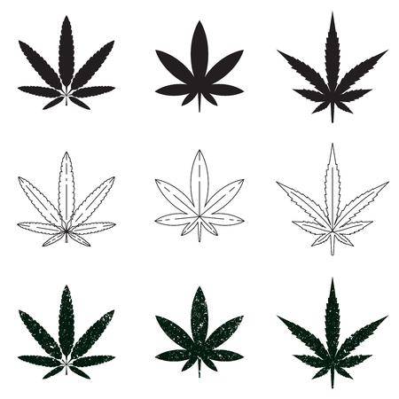 medical symbols: Set of medical marijuana symbols, logos, icons. Vector illustration EPS 10 isolated on white background