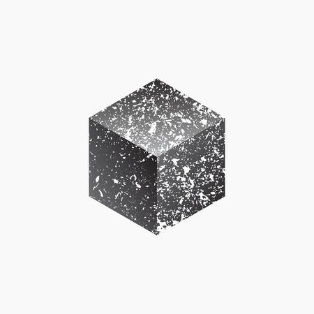 platon: Cube isolated on white background. Grunge design. Vector illustration EPS 10