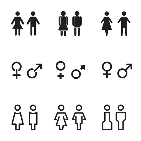 body shape: Male and Female sign icon, vector set. Illustration