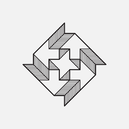 Geometric symbol, line design. Impossible shape. Vector illustration.