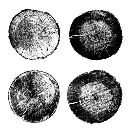 Set van boomringen, logs, houten koffers. Vector illustratie, geïsoleerd op een witte achtergrond Stock Illustratie