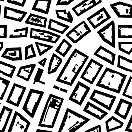 asphalt texture: City map background, seamless pattern. Vector illustration, black and white