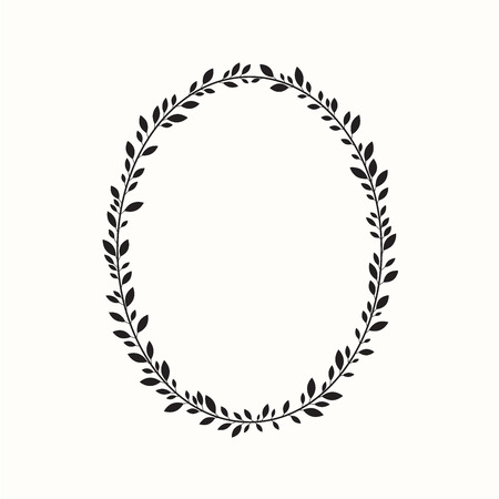 boarders: Laurel wreath, oval, ellipse. Vector illustration