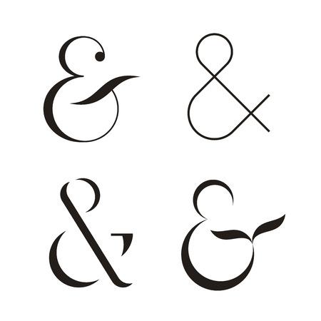Set of Ampersands, vector illustration. Isolated on white background Illustration
