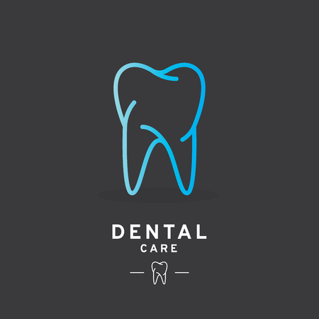 Tooth logo, Dental care icon. Vector illustration, line design Ilustração