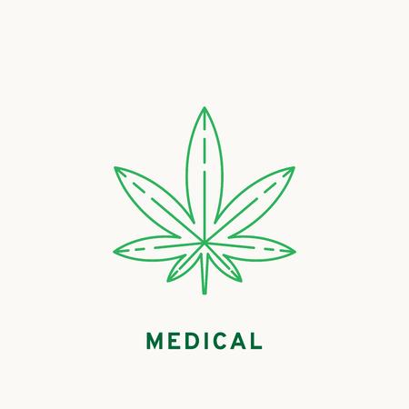weeds: Marijuana icon, line design. Vector illustration Illustration