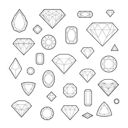 gemstone: Diamond, icon set, vector illustration, line design, isolated on white background
