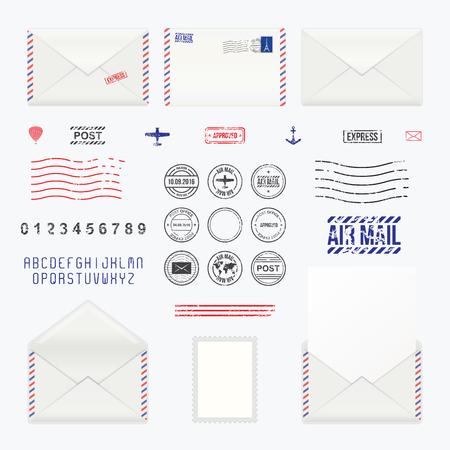Set of post stamp symbols, mail envelope, icons, vector illustration