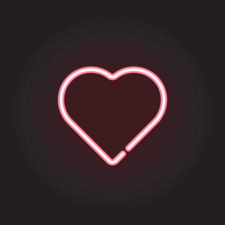 Neon heart, vector illustration