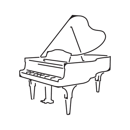 Piano icon, isolated on white background, vector illustration  イラスト・ベクター素材