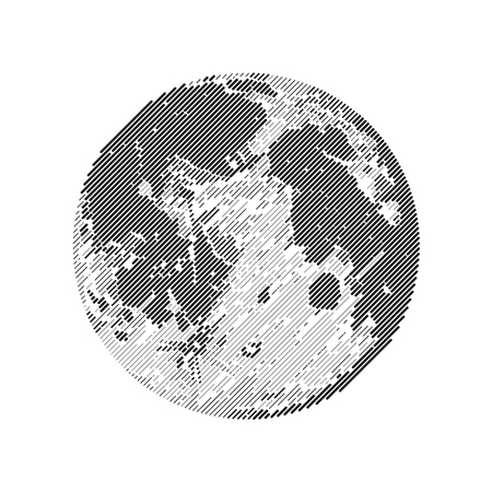 Moon, Line design, un-expanded strokes. Vector illustration EPS 10 Ilustração Vetorial