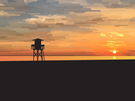 Sunrise beach with sea and lifeguard tower, vector illustration