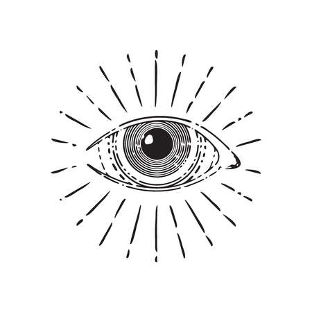 All seeing eye, circle, vector illustration isolated on white Çizim
