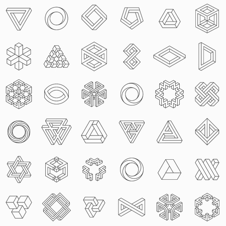 Set of geometric elements, impossible shapes, isolated on white, line design, vector illustration Illustration
