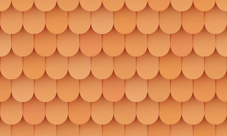 Shingles roof, ceramic orange background, seamless pattern, clay tile, vector illustration