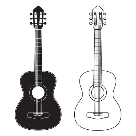 Icona della chitarra, silhouette, linea di design. Illustrazione vettoriale isolato su bianco Vettoriali