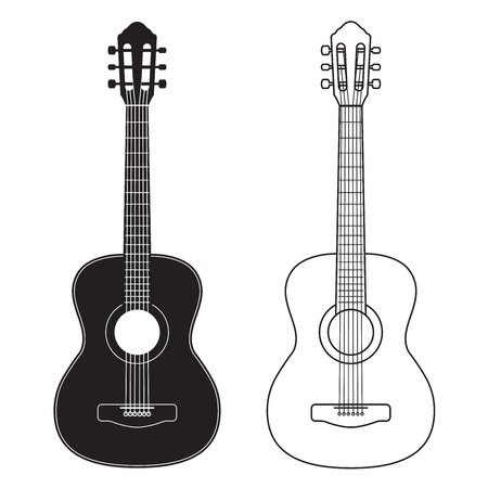 Guitar icon, silhouette, line design. Vector illustration isolated on white