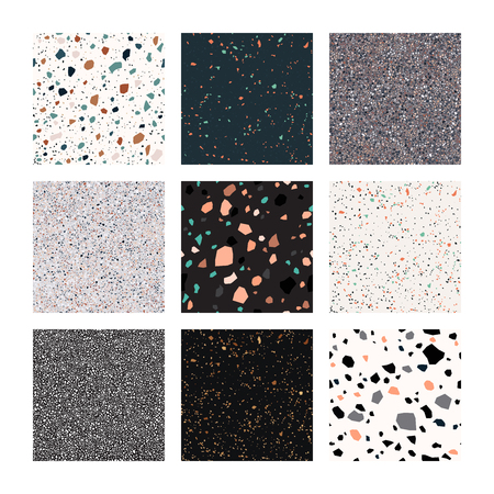 Terrazzo, vector set, seamless pattern, isolated on white background