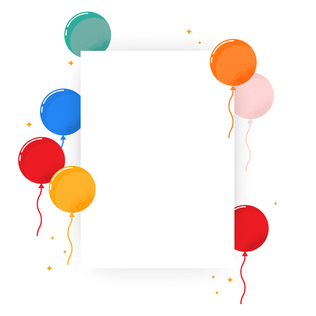 Blank poster with colorful balloon. Simple design, vector illustration isolated on white background. A3 or A4 format