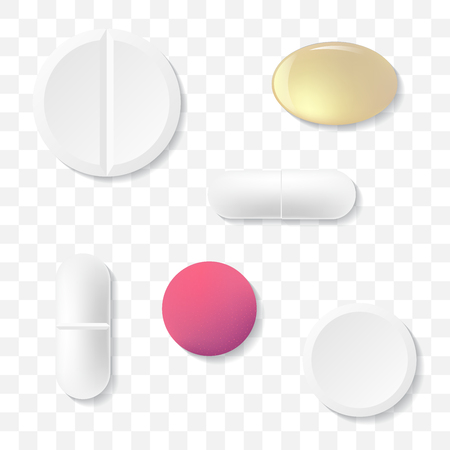 Medicine pills isolated on transparent background, vector illustration