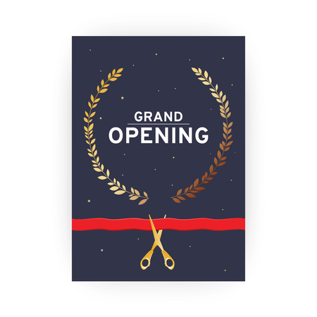 Grand opening. Dark invitation card with gold scissors and red ribbon. Vector illustration.