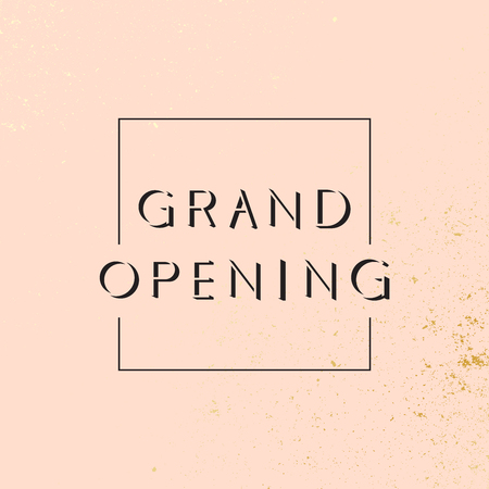 Grand opening. Modern geometric banner with pink and golden background. Vector illustration on white background