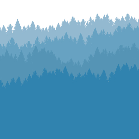 Forest background in the fog, coniferous trees. Vector illustration. Landscape with woods, silhouette