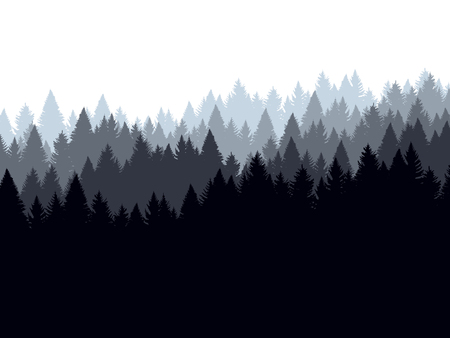 Forest background, coniferous trees. Vector illustration. Landscape with woods, silhouette Vetores