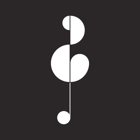 Abstract icon of violin clef, G-clef. Vector illustration