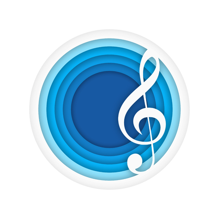 Music background with violin key. Blue circle, paper art. Vector illustration isolated on white