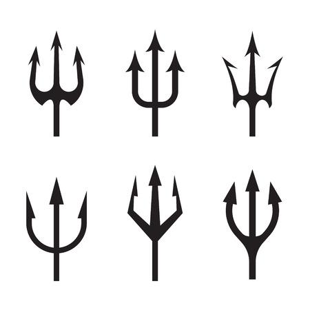 Tridente, conjunto de iconos. Ilustración de vector aislado sobre fondo blanco.