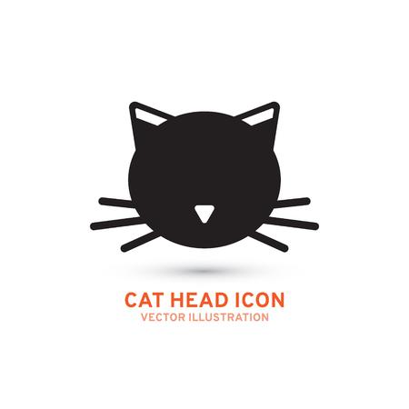 Simple cat head icon, silhouette. Vector illustration isolated on white background Ilustração