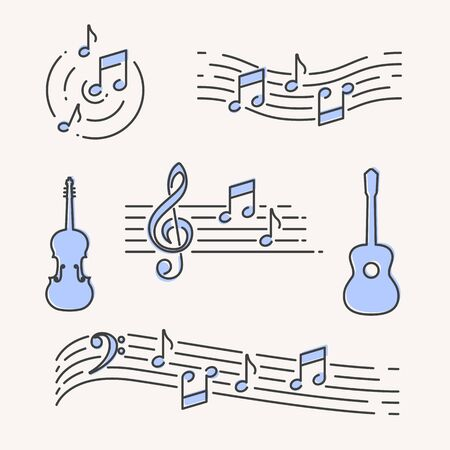 Modern simple music symbols and elements, vector illustration