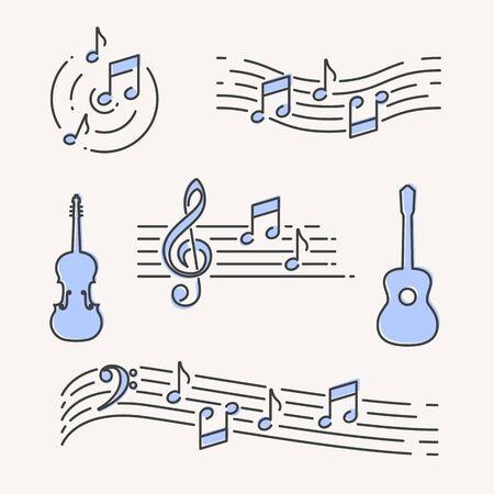 Simboli ed elementi musicali semplici moderni, illustrazione vettoriale