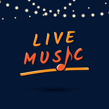 Live music sign with note. Vector Illustration Keywords: Illustration