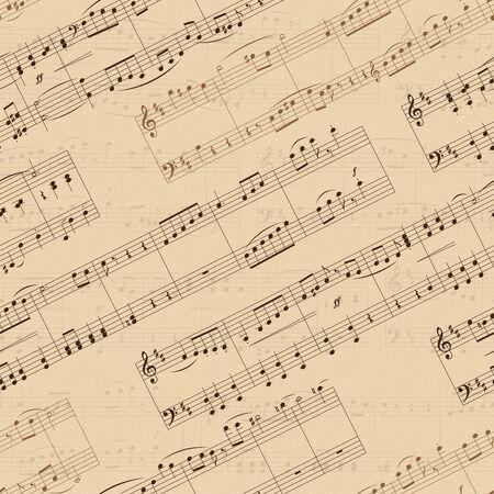 Old sheet music background with musical notes. Vector Illustration Keywords: Illustration Vektorgrafik