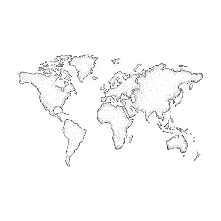 World map. Half tone design. Isolated on white background
