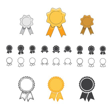 Badge with ribbons icon. Set of different design elements. Isolated on white background