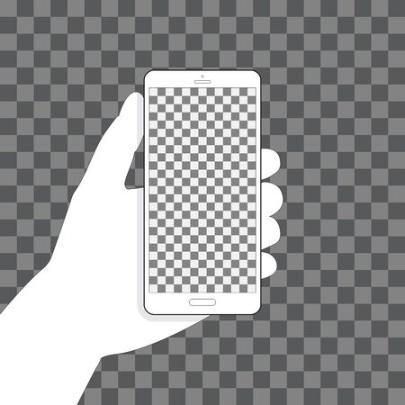Hand holding phone, transparent background for your design. Vertical position. Blank touch screen. Illustration 矢量图像