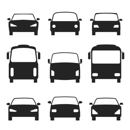 Set Of Cars Silhouette. Bus, truck. Vector Illustration