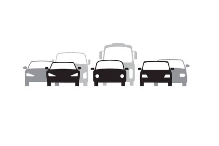 Cars silhouette, front view. Traffic jam icon. Vector Illustration Illustration