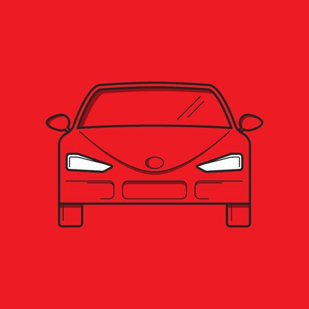Red car, front view. Flat design. Vector Illustration 矢量图像