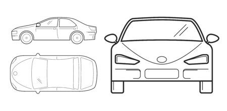 Car, line design. Top, front and side view. Isolated on white background