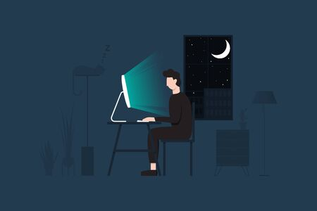 Man working at home. Vector Illustration Illustration