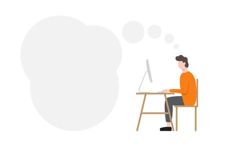 Man sitting at desk and working at computer. Vector Illustration Illustration